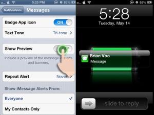 Non-Aktifkan Preview Pesan iPhone